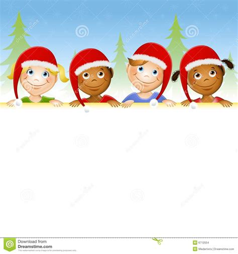 kids in santa hats border stock images image 6712554