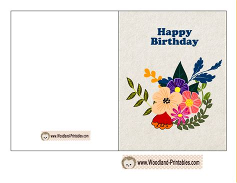 printable flowers for cards free printable woodland birthday cards