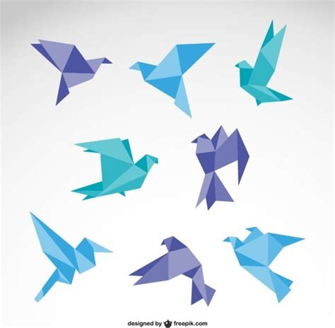 Origami Graphic Design - vector set of origami birds graphics free vector in adobe