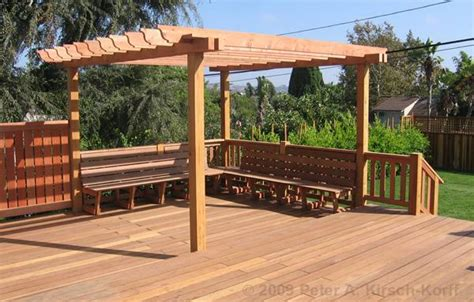 how to build a pergola a deck how to build a pergola on a deck built in storage bench plans diy ideas no1pdfplans freewoodplans