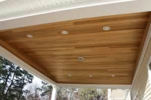 Cedar Porch Ceiling Deck 50x25 W 20x20 Overhang With Cedar Ceiling