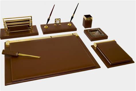 sottomani per scrivanie set scrivania 7 pz in pelle quot pieno fiore quot made in italy