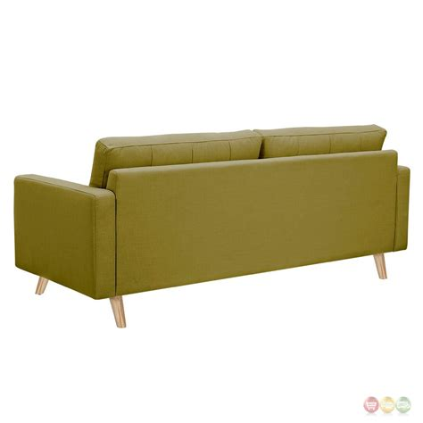 Modern Green Sofa Uma Mid Century Modern Green Fabric Button Tufted Sofa W Finish