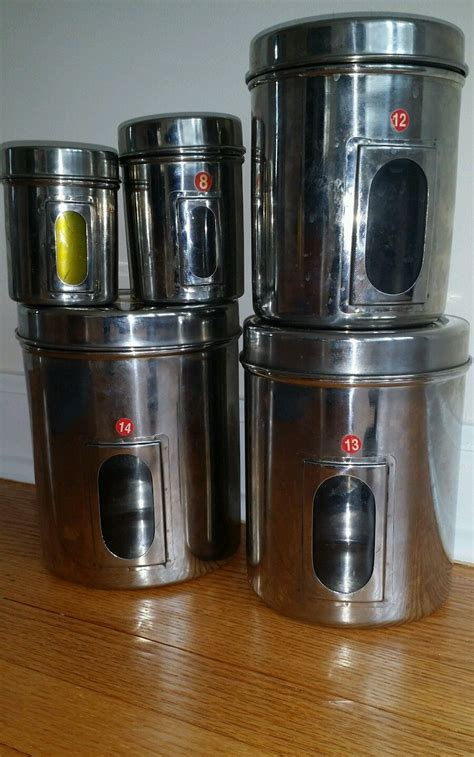 kitchen storage canisters sets stainless steel canister set 5 kitchen storage container jars w window canisters jars