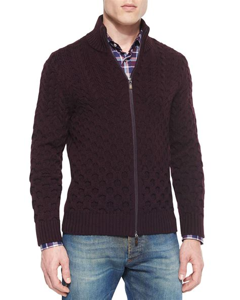 Zip Knit Cardigan lyst etro wool cable knit zip cardigan in purple