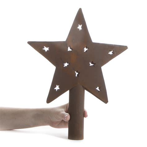 primitive rusty barn star tree topper trees and toppers