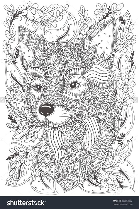 doodle patterns for colouring fox hand drawn with ethnic floral doodle pattern