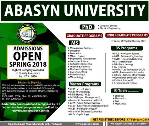 Http Www Wilmu Edu Admission Mba Admission Aspx by Admission Open In Abasyn Peshawar 11 Feb 2018