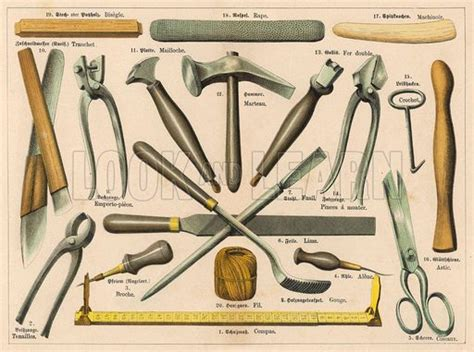 colonial woodworking tools various tools used by a shoemaker or cobbler including