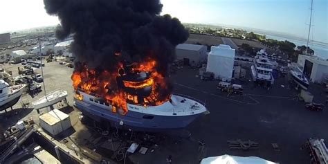 drone captures massive yacht fire   million boat  engulfed  flames video huffpost