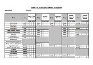 Domestic Cleaning Schedule Template by Sle Cleaning Schedule 8 Documents In Pdf Word