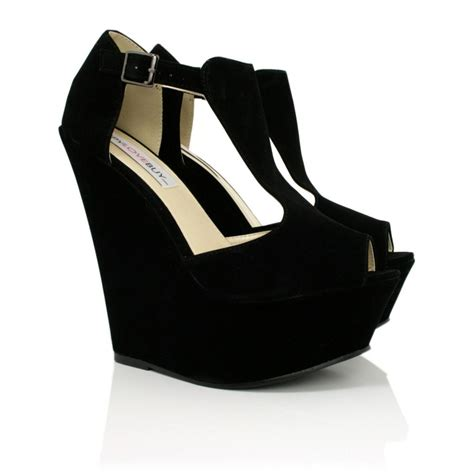 new womens wedge heel t bar peep toe platform shoes size