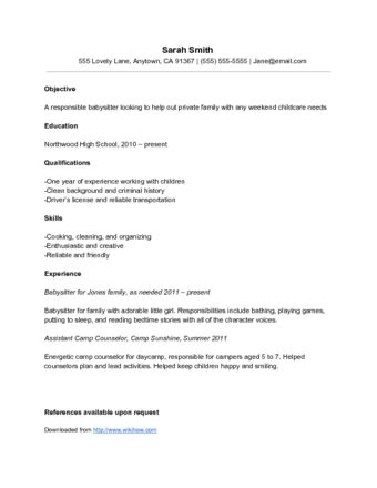 Resume Sles Nanny Position how to write a resume for a nanny 10 steps with pictures