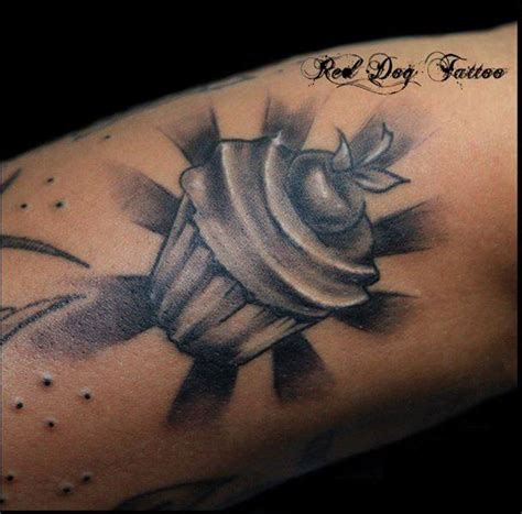 tattoo black and grey and red black and grey cupcake tattoo design