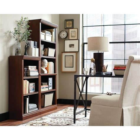 hton bay 5 shelf decorative bookcase in brown