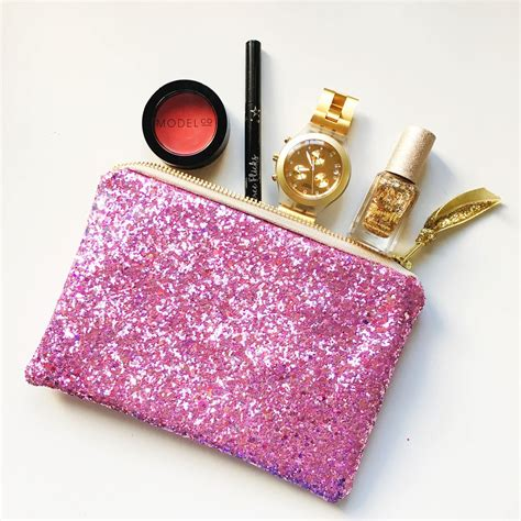 sparkly pink glitter makeup pouch makeup bag small purse