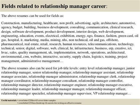 Relationship Manager Cover Letter by Top 5 Relationship Manager Cover Letter Sles