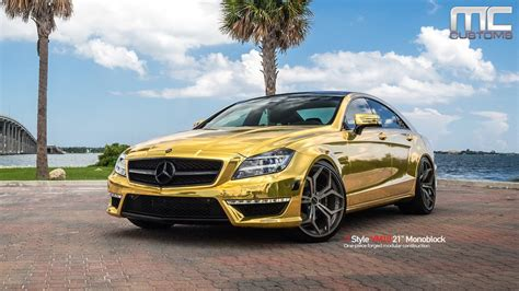 Mc Customs Gold Mercedes Cls63 183 Vellano Wheels