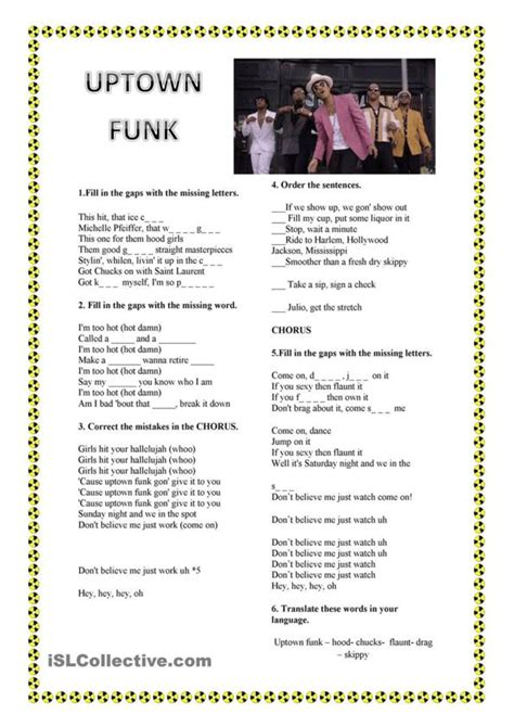 bruno mars biography worksheet 22 best esl songs images on pinterest printable