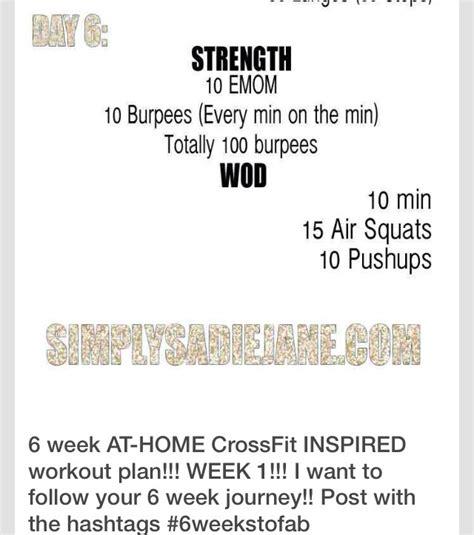 6 week at home crossfit inspired workouts week 1 6 week at home crossfit workout musely