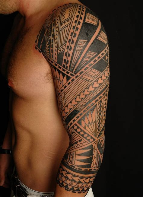 samoan full sleeve tattoo designs large black cover up polynesian half
