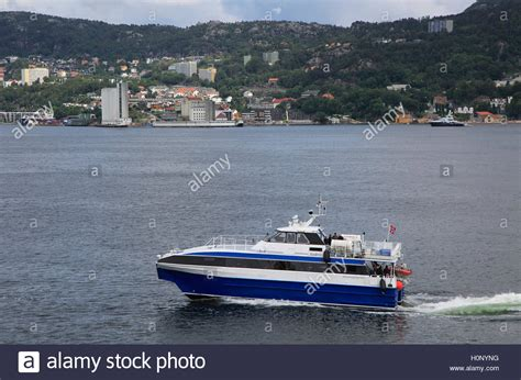 boat service norway fast small water taxi ferry boat service in city of bergen