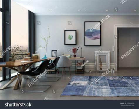 open home office open concept home office space eclectic stock illustration