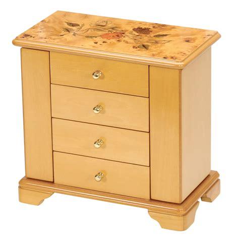 wardrobe jewellery box mele oak wood finish chagne wooden jewellery box
