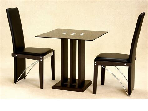 Small Glass Kitchen Table Sets Small Square Glass Dining Table And 2 Chairs In Black Homegenies