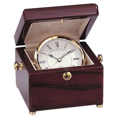 corporate desk accessories clock in rosewood box gf5248 corporate desk