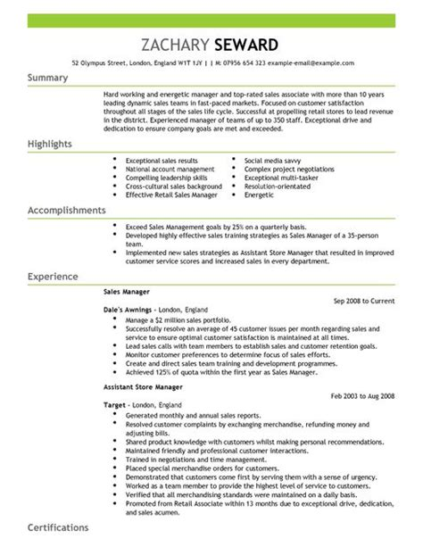 retail manager cv template uk sales manager cv exle for sales livecareer