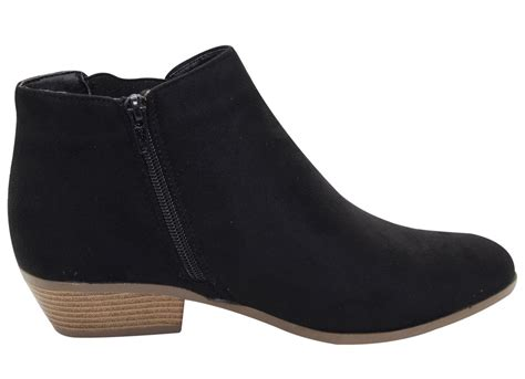 Sidney Mocha Suede Mid Low Heels chelsea faux suede ankle boots womens fashion