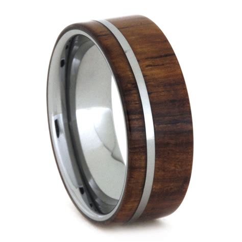 tungsten wedding band honduran rosewood ring in tungsten