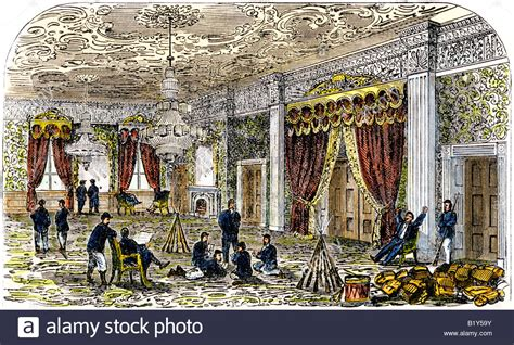 house of war soldiers in the east room of the white house during the civil war stock photo royalty