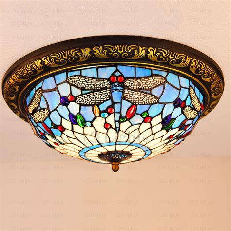 Beautiful Stained Glass Shade Dragonfly Tiffany Ceiling Light