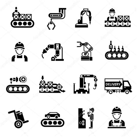 production symbols production line icons black stock vector 169 macrovector