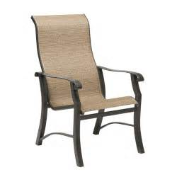 High Back Sling Patio Chairs Woodard Cortland Sling High Back Dining Arm Chair