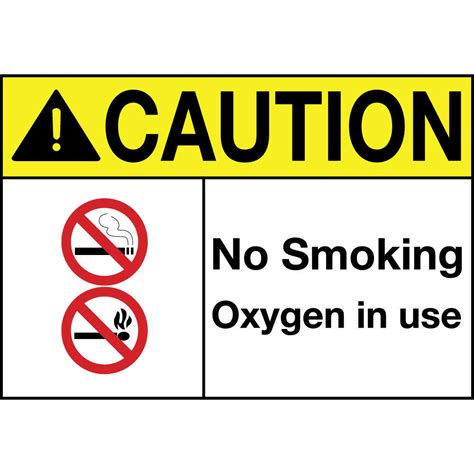 no smoking oxygen in use sign r5400 by safetysign com caution no smoking oxygen in use w symbols aluminum metal