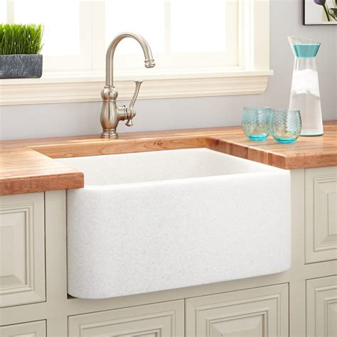 White Sink Kitchen 24 Quot Polished Marble Farmhouse Sink White Thassos Kitchen