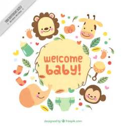 enjoyable baby shower card with cute animals vector free