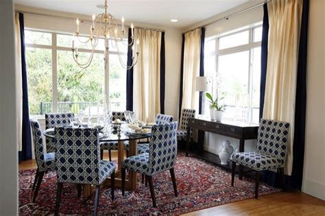 sarah richardson drapes navy blue dining chairs transitional dining room