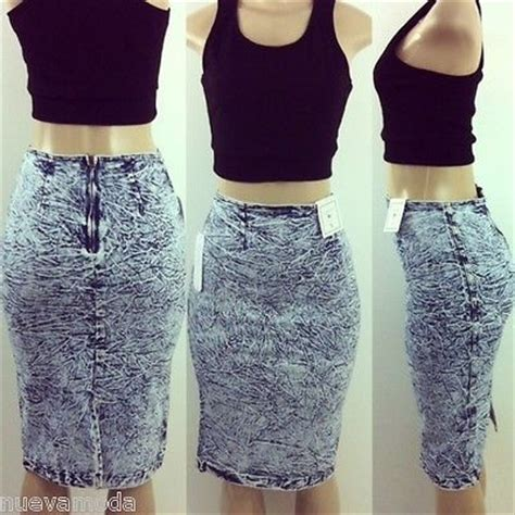 high waist 80 s acid wash stretch denim pencil skirt sizes