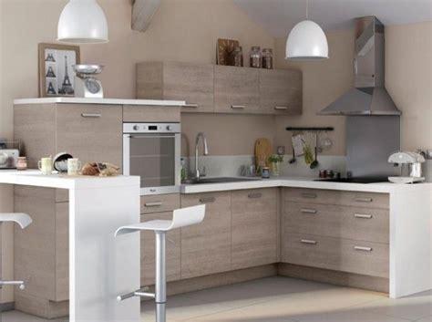 petites cuisines 駲uip馥s cuisine bois plan de travail blanc castorama
