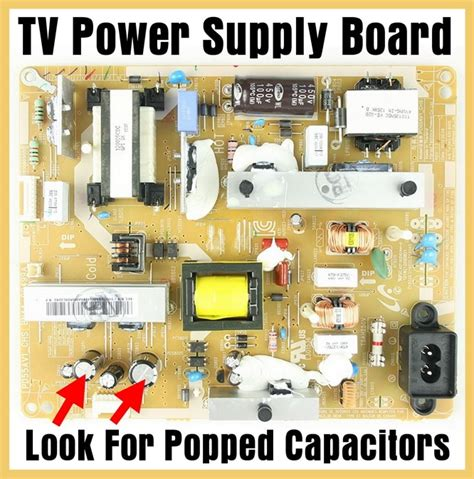 failing capacitors in power supply tv power light comes on but no picture or sound removeandreplace