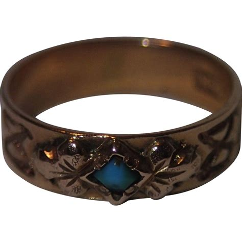 antique baby ring 14k gold with turquoise c 1890 from