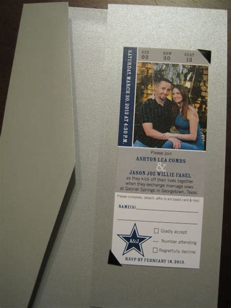 wedding invitations dallas pa the inviting pear photoblog cowboys ticket as wedding