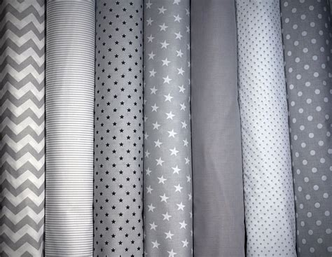 grey pattern material 100 cotton fabric high quality grey white stars polka