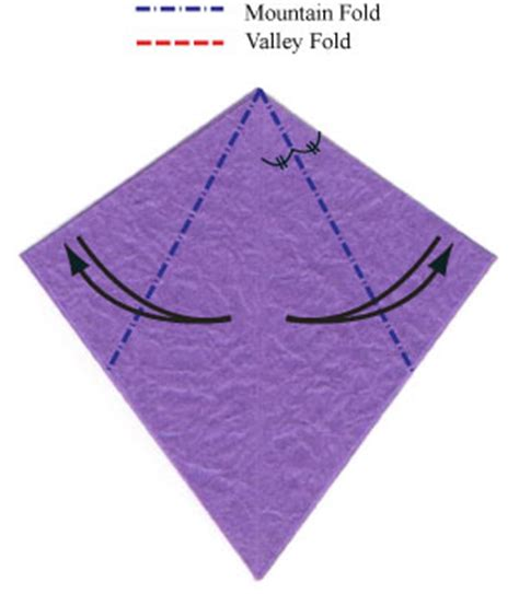 Origami Valley Fold - how to make an origami bellflower page 5