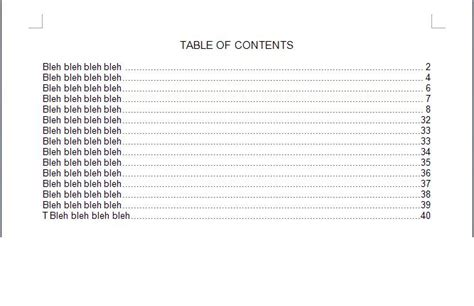 table of contents templates table of contents template word document pictures to pin