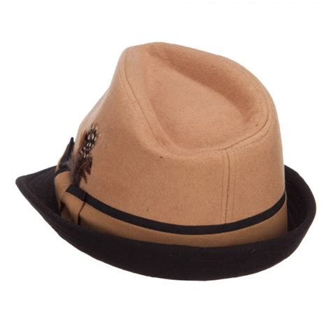 Imported Feather Fedora 4 Fedora Camel Two Tone Fedora With Feather E4hats